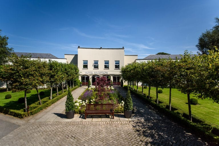 Tulfarris Hotel & Golf Resort Hotel Exterior on a bright sunny day in Wicklow